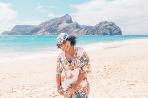Eulanda walking on Calheta Beach - Porto Santo island - Best Beaches in Europe