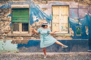 Eulanda dancing on street in Funchal, Madeira | Visit Portugal in One Week