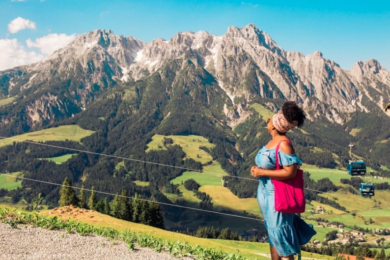Eulanda looking at mountains in Saalfelden Leogang, Salzburgerland, Austria