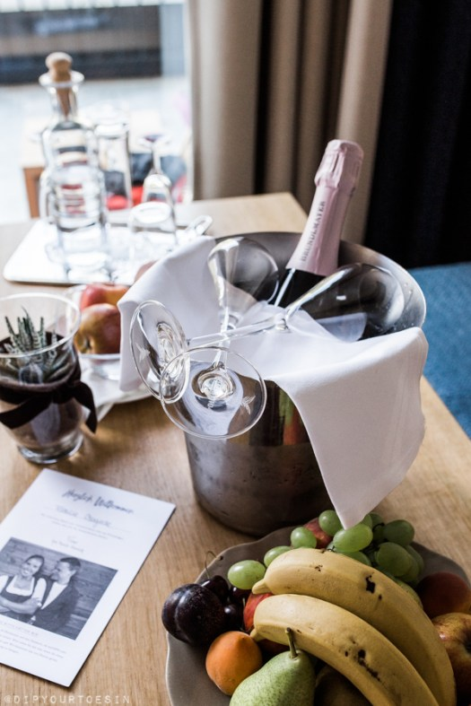 Champagne welcome at WaldHaus (Forest House) Lebensquell suite   Hotel Forsthofgut   Leogang, Austria