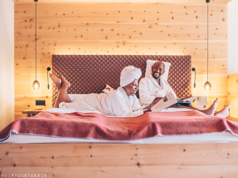 Couple laughing in room at Bio-Hotel Rupertus
