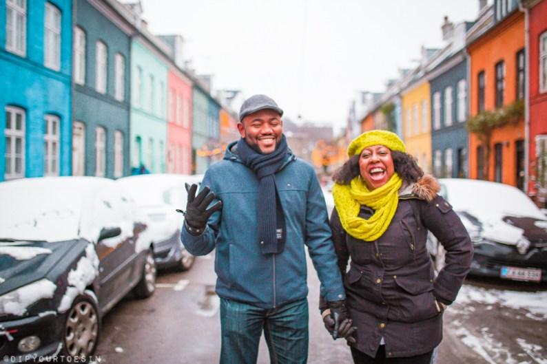 Couple walking along Olufsvej Østerbro in winter   Dear Copenhagen