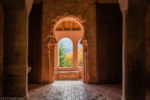 View of arches inside the Monasterio de San Millán de Suso   La Rioja   Spain
