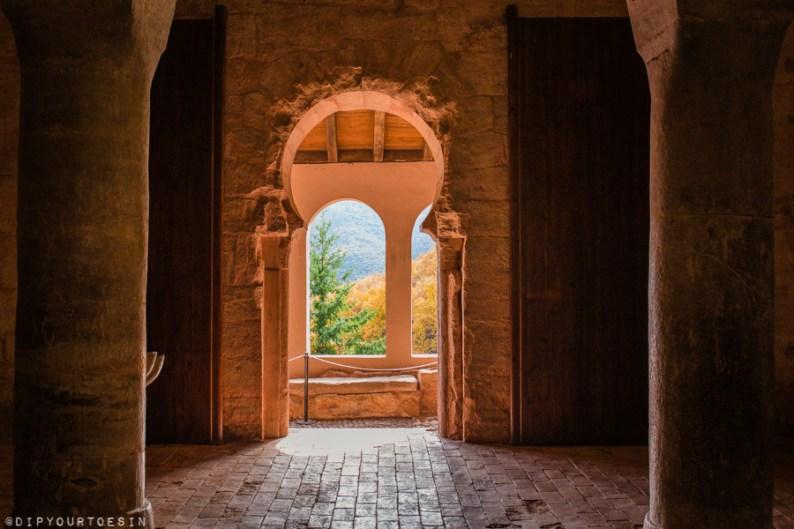 View of arches inside the Monasterio de San Millán de Suso | La Rioja | Spain