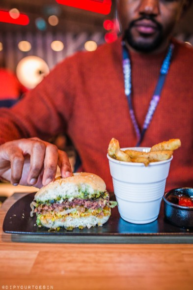 Meat-free Impossible Burger at Razzle Dazzle, vegetarian restaurant on Scarlet Lady by Virgin Voyages