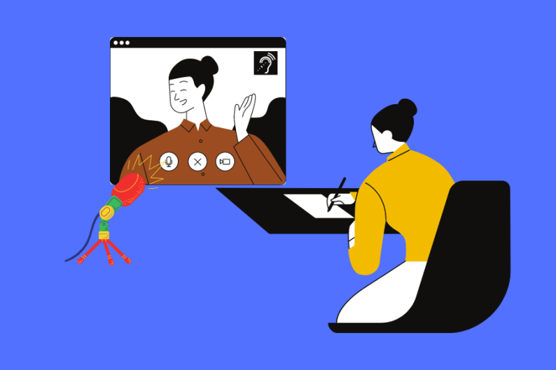 Illustration with person writing on a paper while watching a TV screen