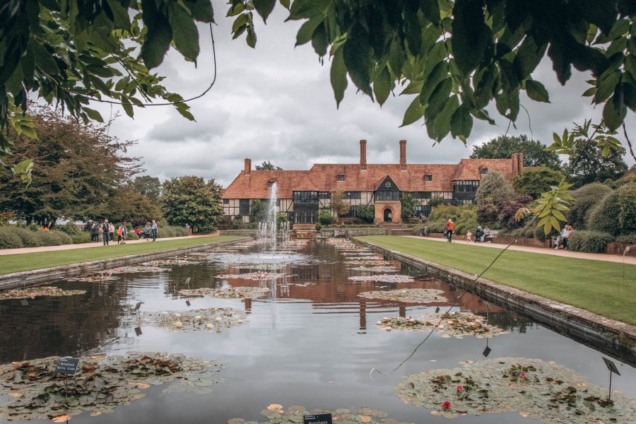 View of Jellicoe Canal and water lilies at RHS Garden Wisley