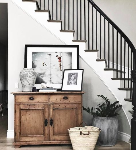 Re Create The Look 5 Modern Farmhouse Staircase Ideas You Ll Love | Modern Farmhouse Stair Railing | Contemporary | Design Small House | Simple 2Nd Floor Railing Wood Stairs Iron Railing Design | Vintage Farmhouse | Wire