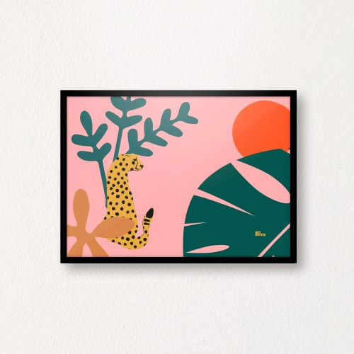 Jungle Cat, Pink Botanic A4 Print