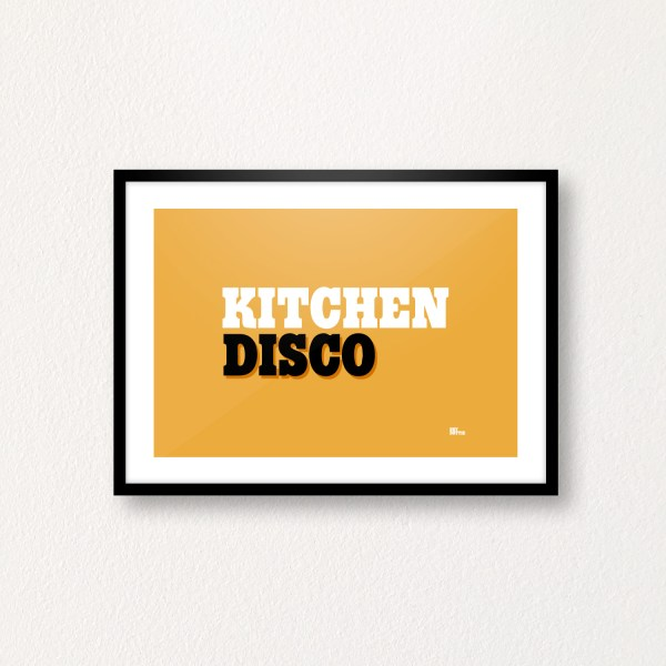 Kitchen Disco on Mustard, A4 Print