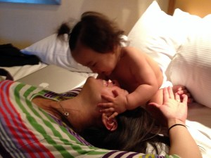 eva and momma time in the hotel room.