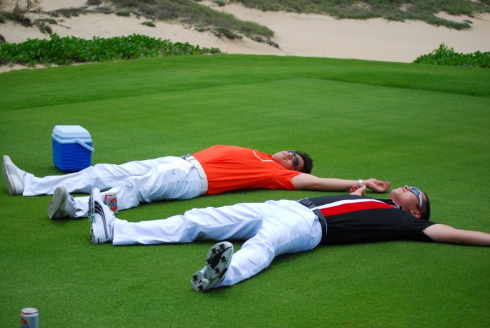 i guess this is to show they were tired after a long day of golfing.