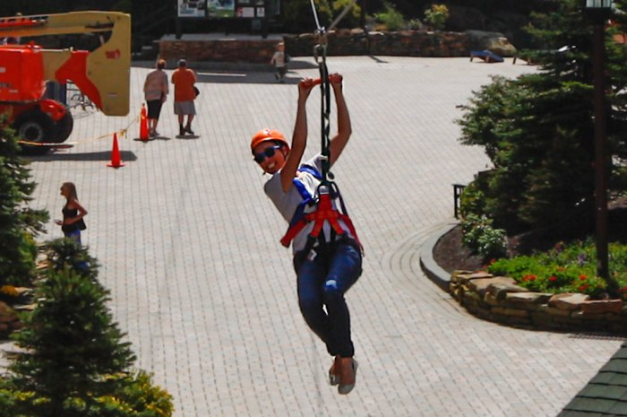testing out snowshoe mountain resort's new zipline just cause, why not?