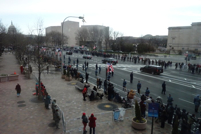 the presidential motorcade as it headed to the capitol for the swearing-in.