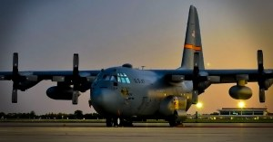 C-130 182nd Airlift Wing siting on the ramp sunrise Peoria Ill