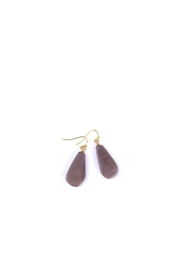 Opal Gray Contemporary Tagua Stone Earrings made with nickel-free hypoallergenic brass in white background.