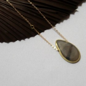 Upcycled dark horn and brass on a gold-colored brass chain Maystone necklace.