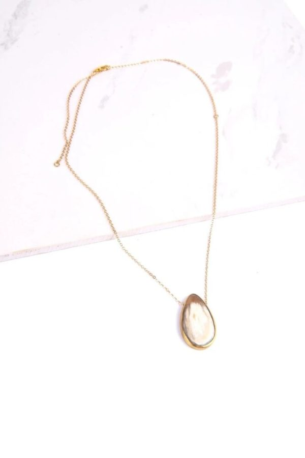 Ethically-made adjustable Maystone necklace on a white background.