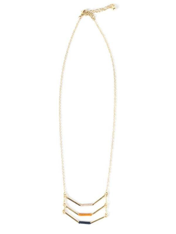 Beautiful and ethically-made Three Layer Threaded Necklace made with thread and brass and lengthy chain.