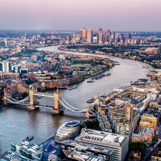 Aerial view of London city down the Thames, including Tower Bridge