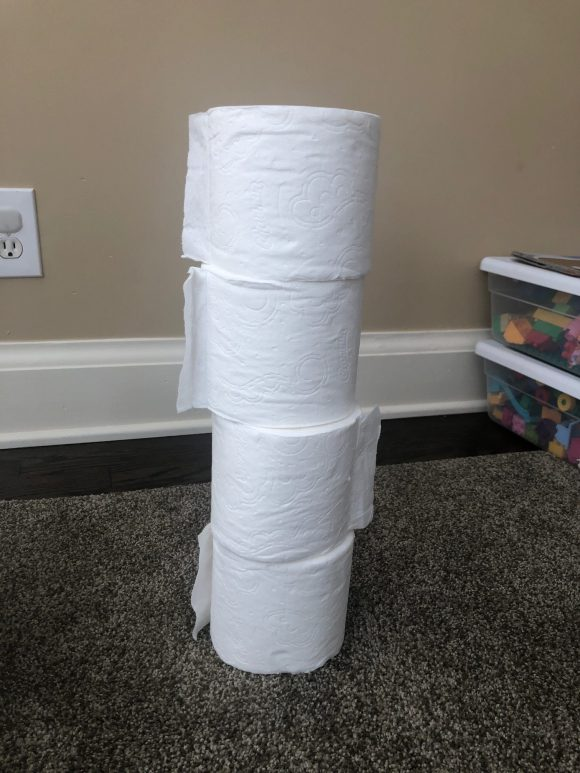 Toilet paper roll tower as part of the preschool counting activity.