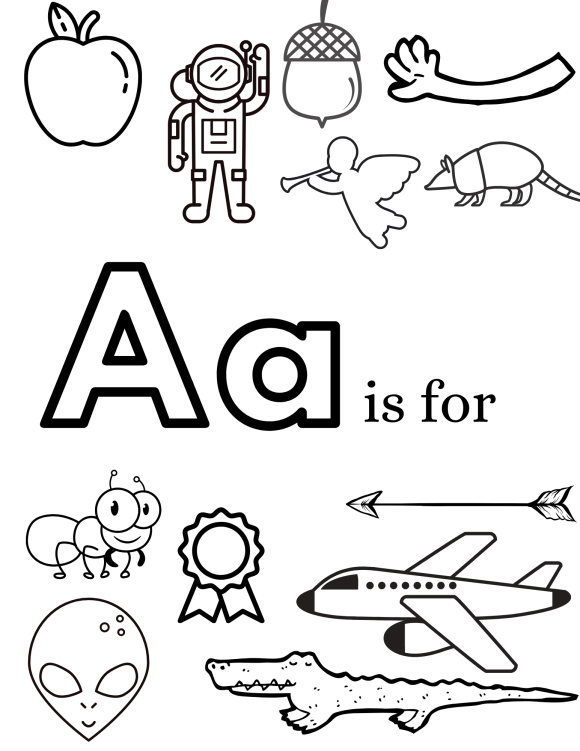 Example of letter A page in the alphabet pages coloring pdf