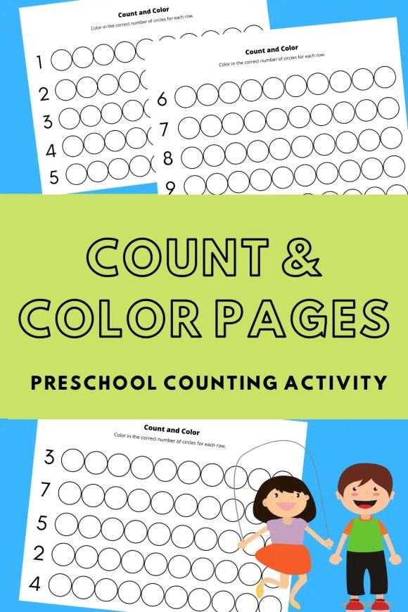Pinterest pin describing count and color preschool activity