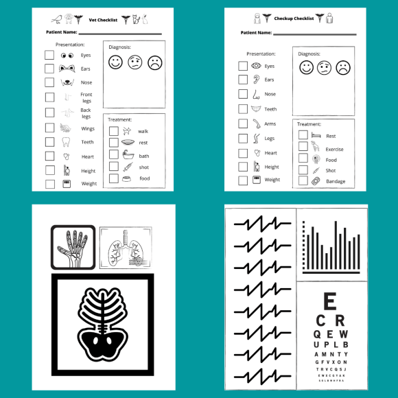 Preview of doctor dramatic play printable pages.