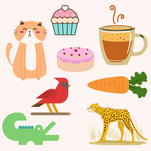 Fun colorful images of things that start with the letter C, giving parents show and tell ideas.