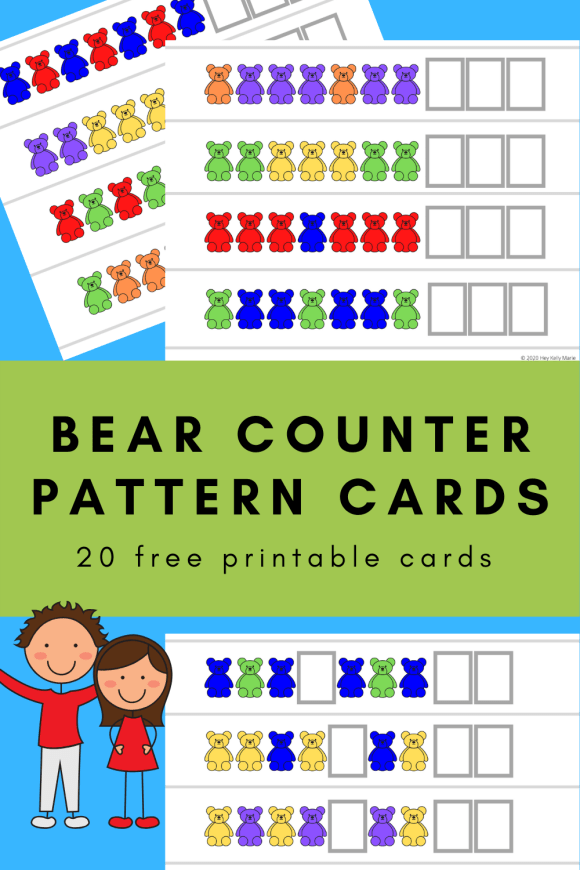 pinterest pin previewing bear counter pattern card examples and kids happy