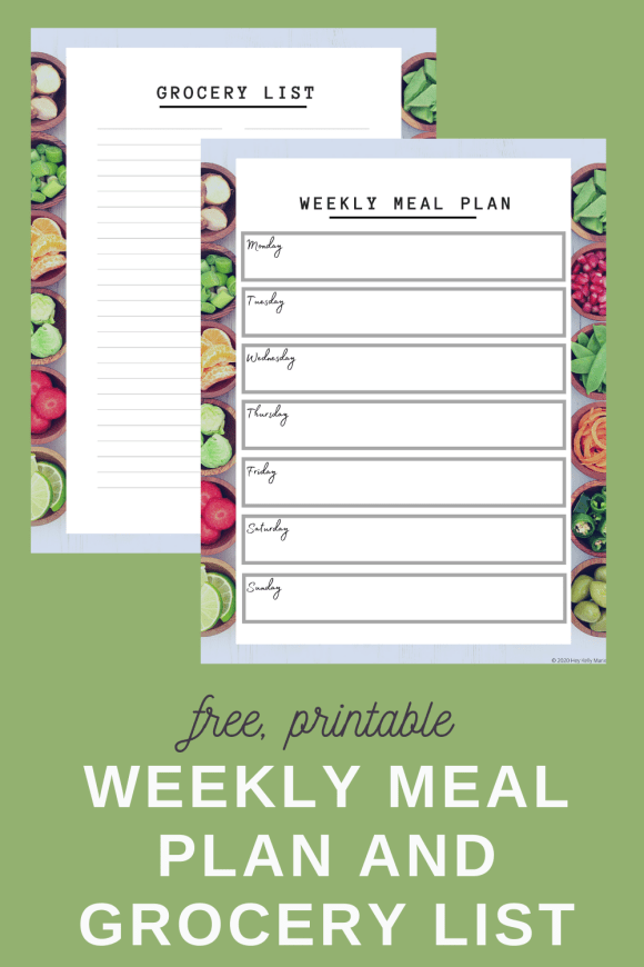 printable meal planner and grocery list on a pinterest pin