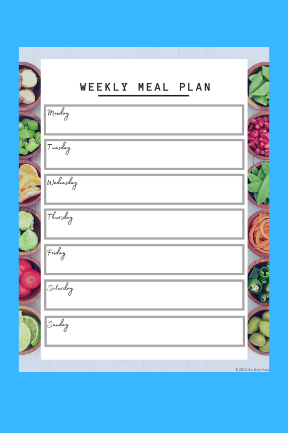 pinterest pin showcasing printable meal planner and grocery list