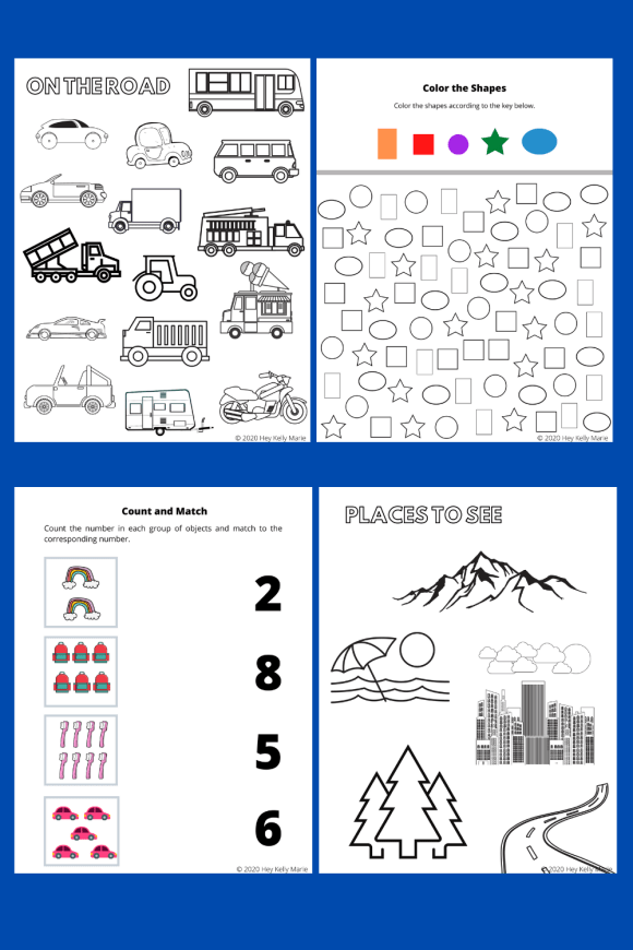 Preview images of the free, printable preschool road trip activity book