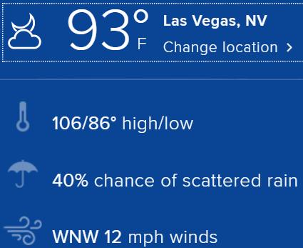 106 F in Las Vegas