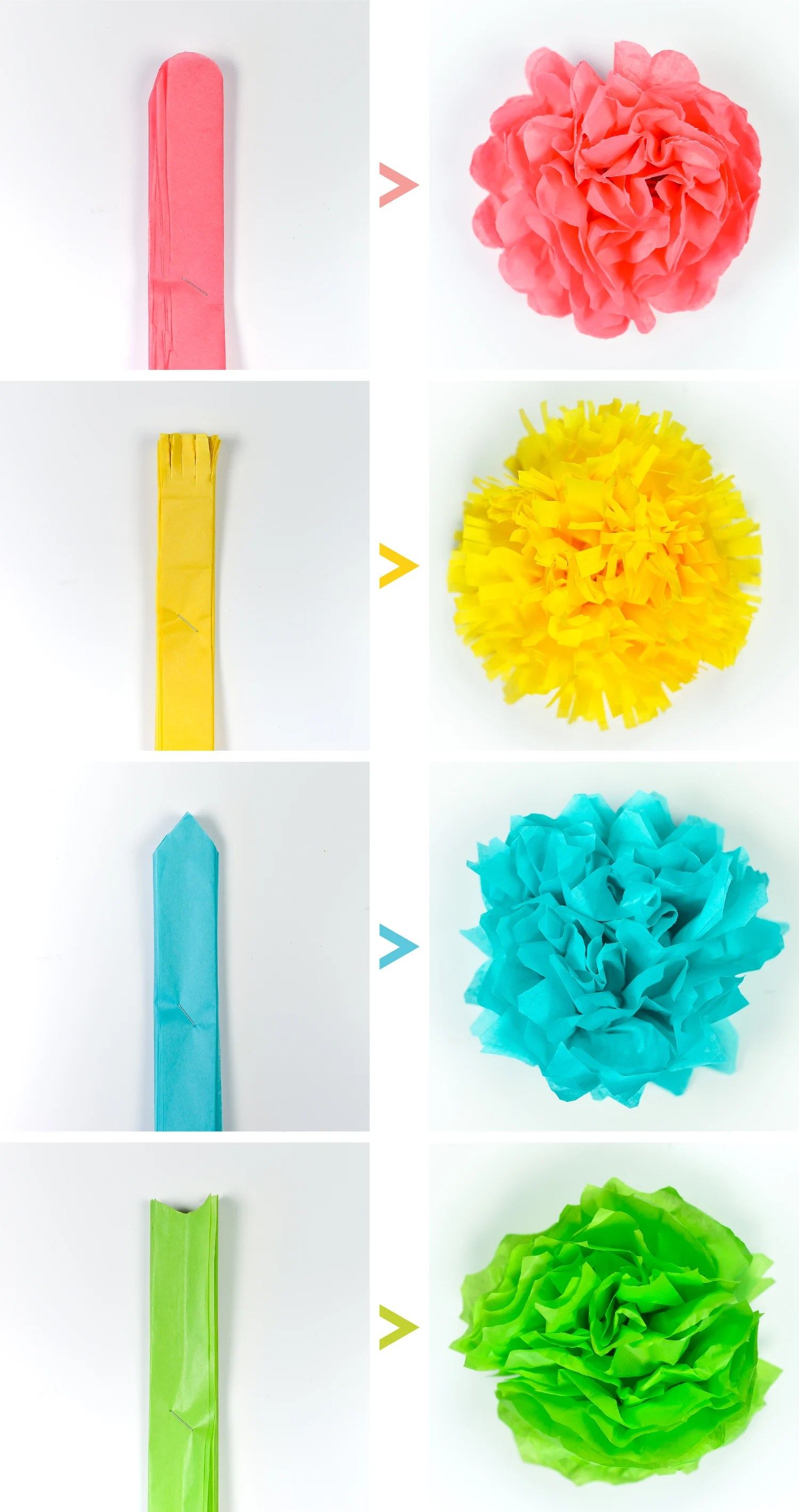 Tissue paper flowers four ways by cutting the edges differently