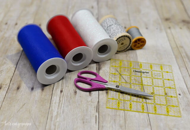 Supplies needed for Patriotic Tulle Fireworks - thread, ribbon, scissors, and cardboard or ruler