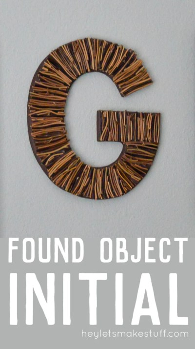 Collect items found in nature, like sticks and feathers, and use them to make a DIY initial craft. A fun craft for kids or great for home decor!