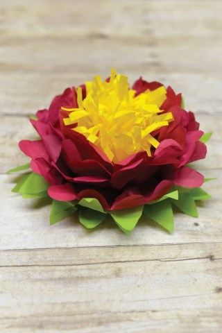 How to Make Tissue Paper Flowers Four Ways   Hey  Let s Make Stuff Tri color tissue paper flowers are easy to make  Perfect simple decorations  for weddings