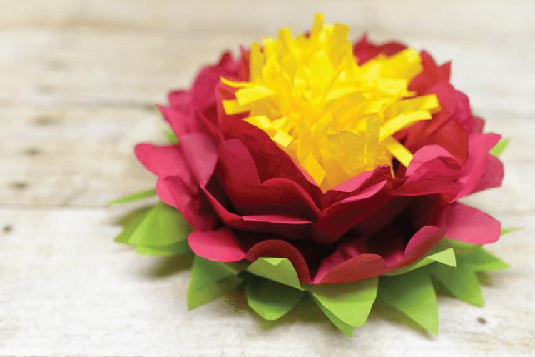 finished tri-color tissue paper flower