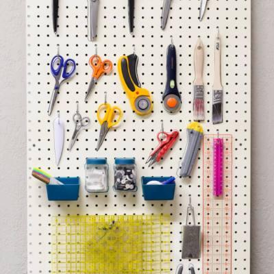 DIY Sewing and Craft Room Peg Board Organization
