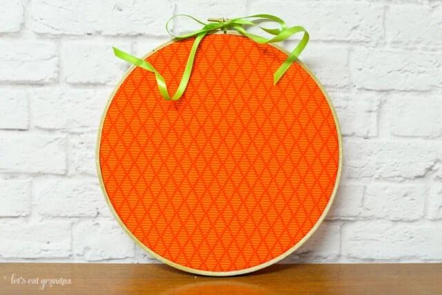 orange pumpkin embroidery hoop finished