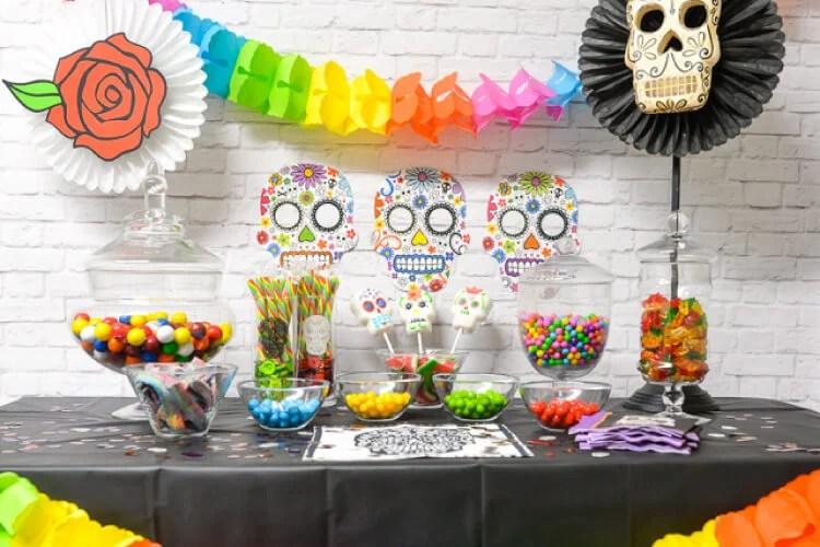 Dia de los Muertos Party Candy Bar display
