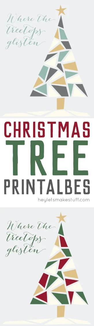 Free Christmas tree printable in traditional tones of green, red, and gold and modern tones of green, gold, gray, and white.