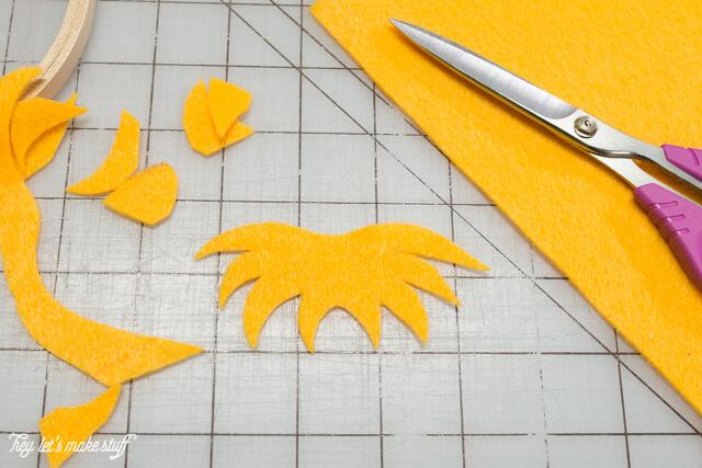 cutting felt for Dr. Suess DIY felt hoops