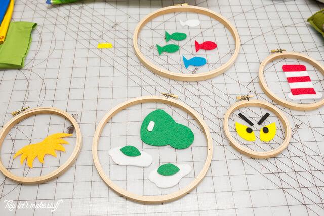 felt cutouts for Dr. Suess DIY felt hoops