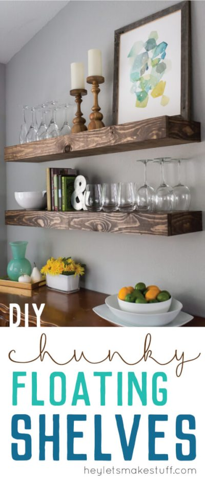 Chunky floating shelves are a great way to bring more storage to any space. Stylish and sturdy, the work well in farmhouse, industrial, and modern decor styles.