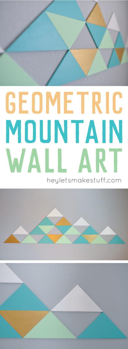 DIY geometric mountains on wall pin image