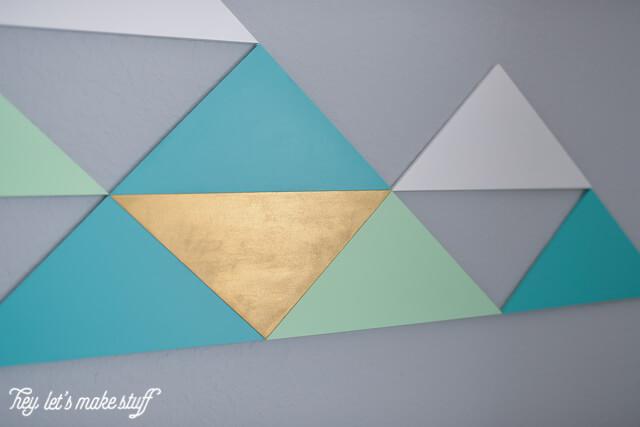 DIY geometric mountains on wall