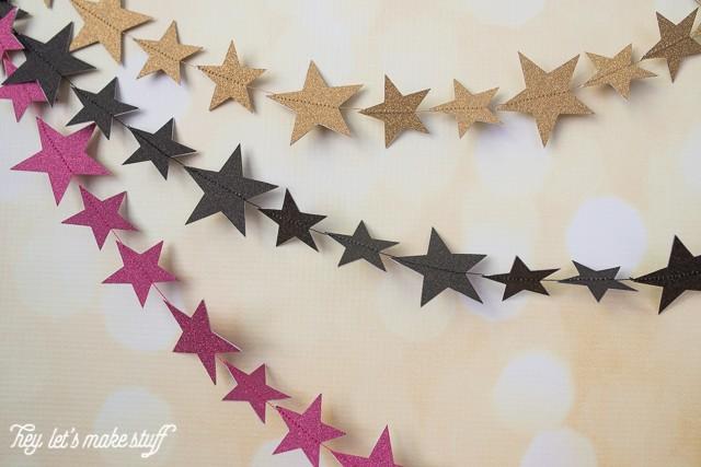 tri-color star garland hanging