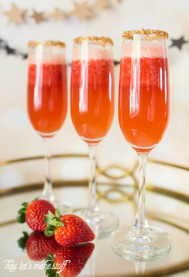red strawberry champagne flutes